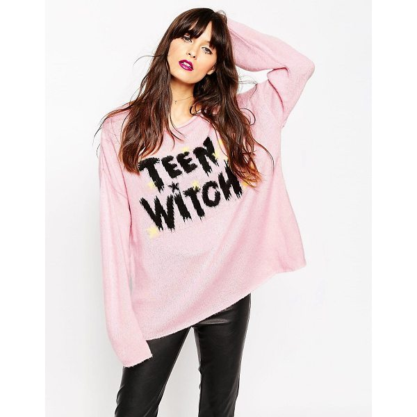 ASOS Sweater with Halloween Teen Witch Slogan - Sweater by ASOS Collection, Soft touch material, Scoop...