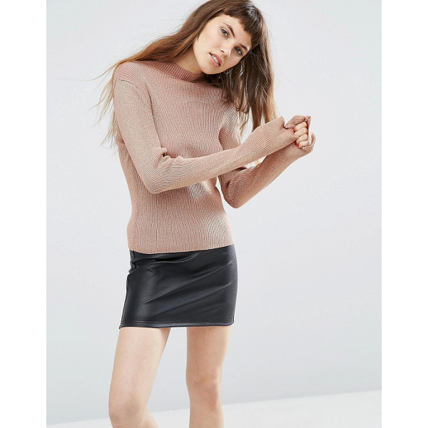 ASOS Sweater with High Neck in Metallic - Sweater by ASOS Collection, Ribbed knit, Metallic thread...