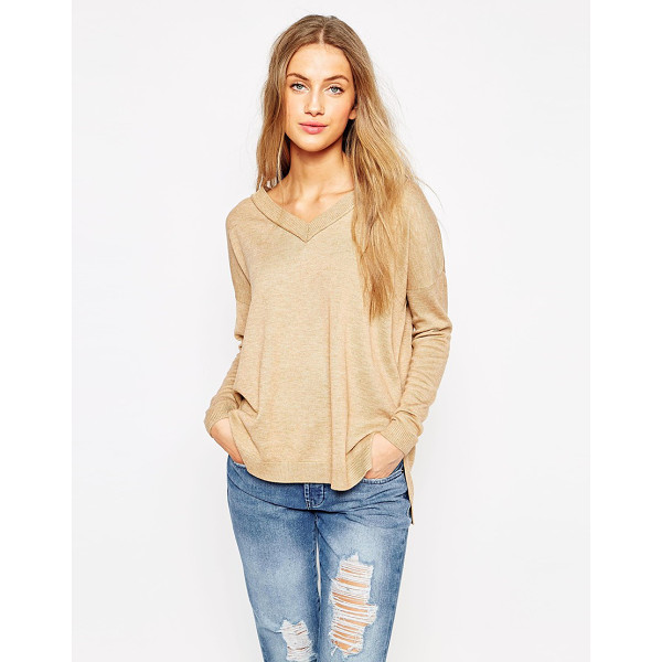 ASOS Sweater with v neck and side splits - Sweater by ASOS Collection Lightweight wool-mix V-neckline...