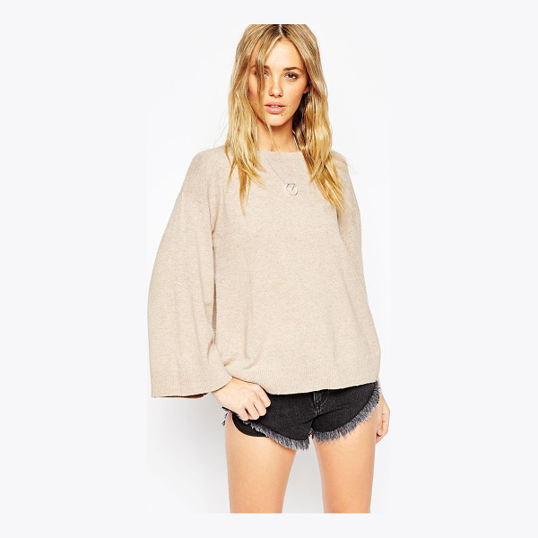 ASOS Sweater with wide sleeve in cashmere mix - Sweater by ASOS Collection Lightweight, soft-touch knit...