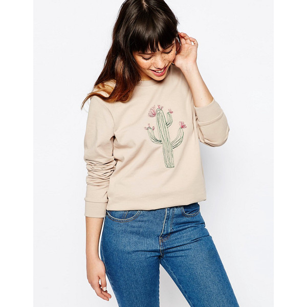 ASOS Sweatshirt with embroidered cactus - Sweatshirt by ASOS Collection Soft-touch sweat Crew neck...