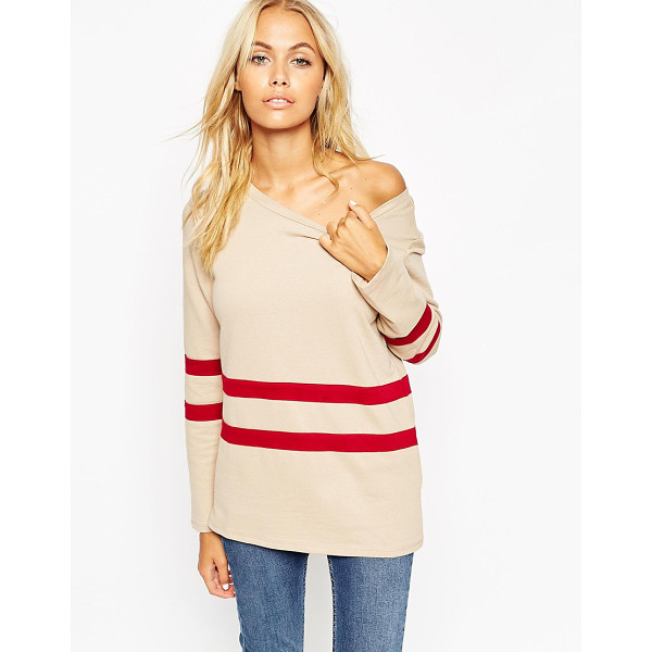 ASOS Sweatshirt with off shoulder and placement stripe - Sweatshirt by ASOS Collection Loop-back sweat Wide boat...