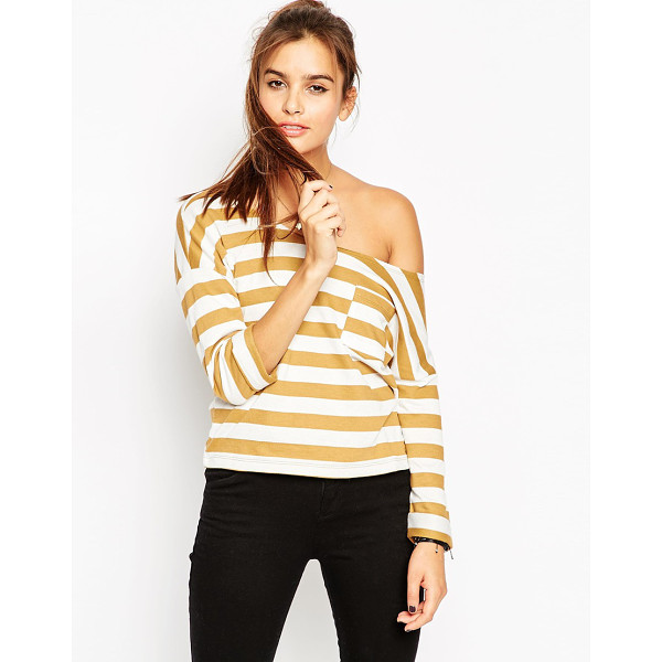 ASOS Sweatshirt with off shoulder in stripe - Sweatshirt by ASOS Collection Loop-back sweat Raw cut...