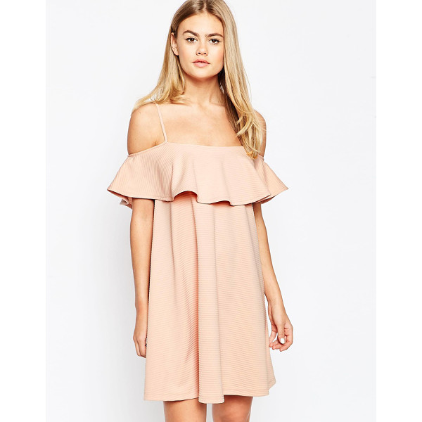 ASOS Swing dress with cold shoulder and ruffle detail - Dress by ASOS Collection Ribbed stretch fabric Square...