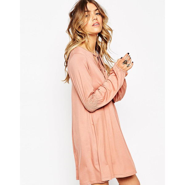 ASOS Swing dress with shirred sleeves - Casual dress by ASOS Collection Stretch jersey Round...