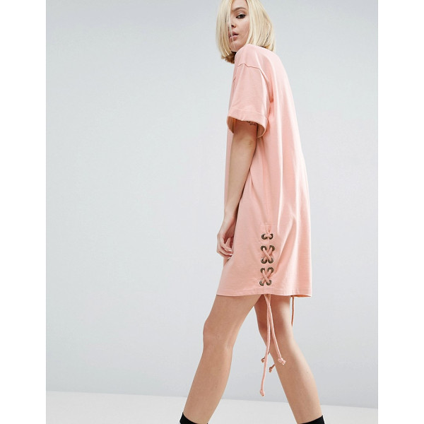 "ASOS T-Shirt Dress With Lace Up Sides - """"Dress by ASOS Collection, Soft-touch cotton jersey, Crew..."