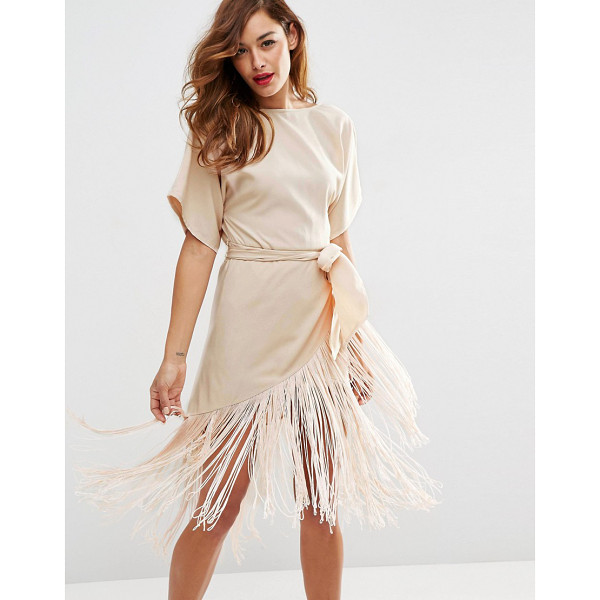ASOS T-Shirt Fringe Midi Dress - Midi dress by ASOS Collection, Smooth woven fabric, Wide...