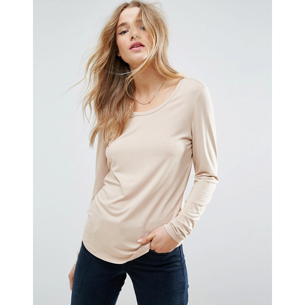 "ASOS T-Shirt With Long Sleeve and Scoop Neck - """"T-shirt by ASOS Collection, Soft-touch stretch jersey,..."