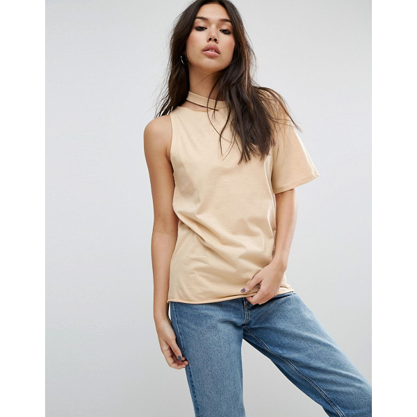 ASOS T-Shirt with One Shoulder and Nibble Detail - T-shirt by ASOS Collection, Pure-cotton jersey, Crew neck...