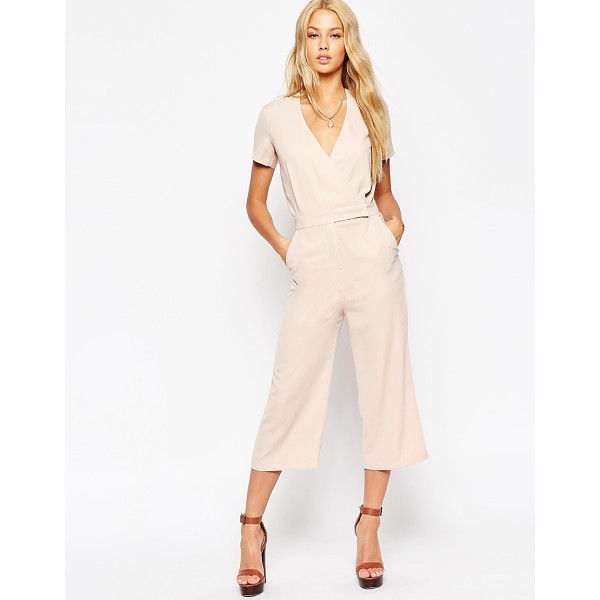ASOS Tailored Wrap Jumpsuit with Midi Leg - Jumpsuit by ASOS Collection, Lightweight woven fabric, Deep...