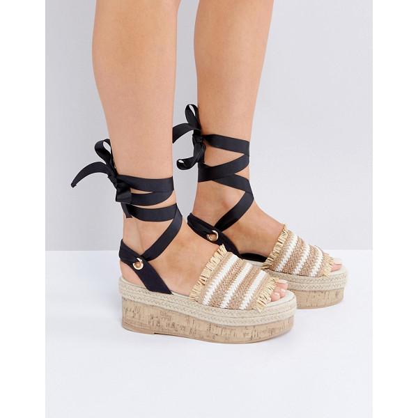 ASOS TAKE A BREAK Flatform Sandals - Platform shoes by ASOS Collection, Woven and canvas upper,...