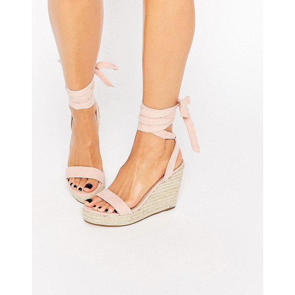 ASOS TALENT Tie Leg Wedge Sandals - Sandals by ASOS Collection, Leather-look upper, Wraparound...