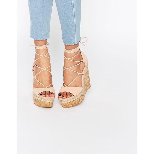 ASOS TAMMI Lace Up Wedge Sandals - Wedges by ASOS Collection, Textile upper, Open toe, Cross...