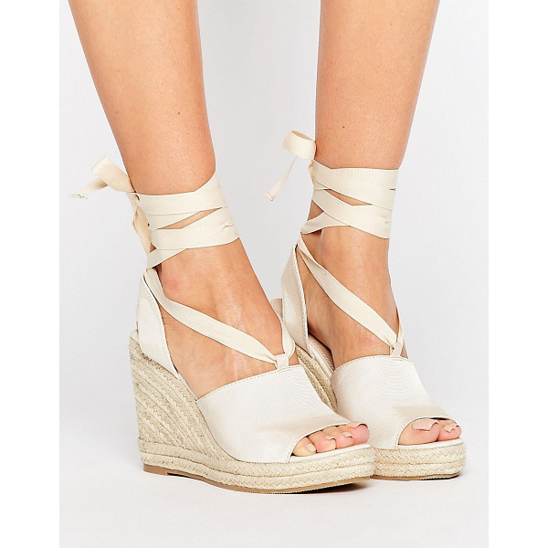 ASOS TEAM PLAYER Tie Leg Wedges - Wedges by ASOS Collection, Ribbed textile upper, Grosgrain...