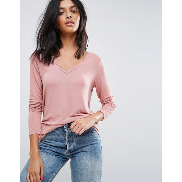 ASOS The New Forever T-Shirt With Long Sleeves and Dip Back - T-shirt by ASOS Collection, Soft-touch jersey, V-neckline,...