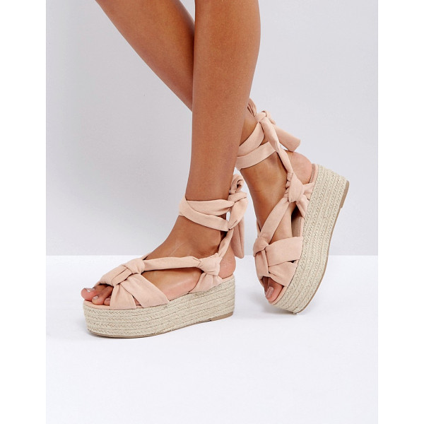 """ASOS TIPSY Tie Leg Knotted Espadrille Flatforms - """"""""Espadrilles by ASOS Collection, Faux-suede upper, Slip-on..."""