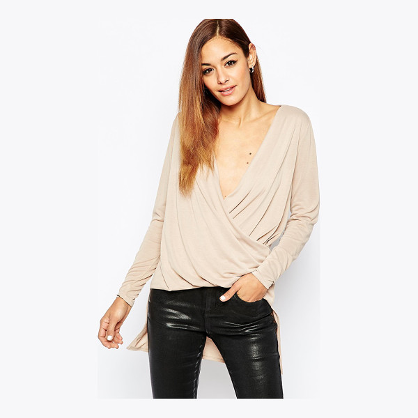 ASOS Top in Cupro with Wrap Front and Drop Back Hem - Top by ASOS Collection, Soft-touch jersey, Plunge neckline,...