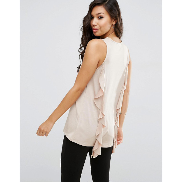 ASOS Top With Dip Back And Ruffle Detail - Top by ASOS Collection, Soft knitted fabric, Crew neckline,...