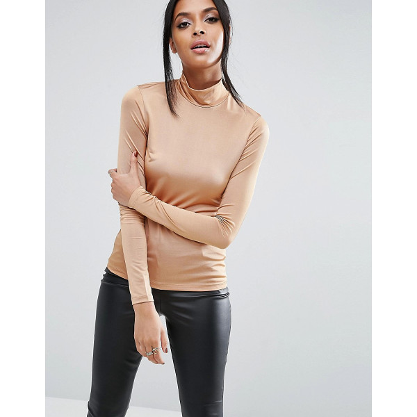 ASOS Top with Turtleneck - Top by ASOS Collection, Stretch slinky fabric, High neck,...