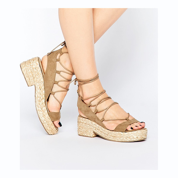 ASOS Treat lace up sandals - Sandals by ASOS Collection Suede-look upper Lace-up closure...