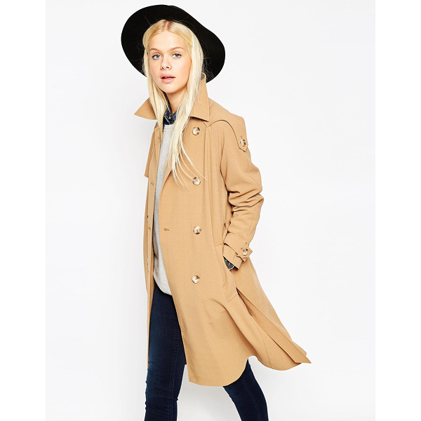"ASOS Trench Coat in Midi Length - """"Coat by ASOS Collection, Midweight unlined crepe,..."