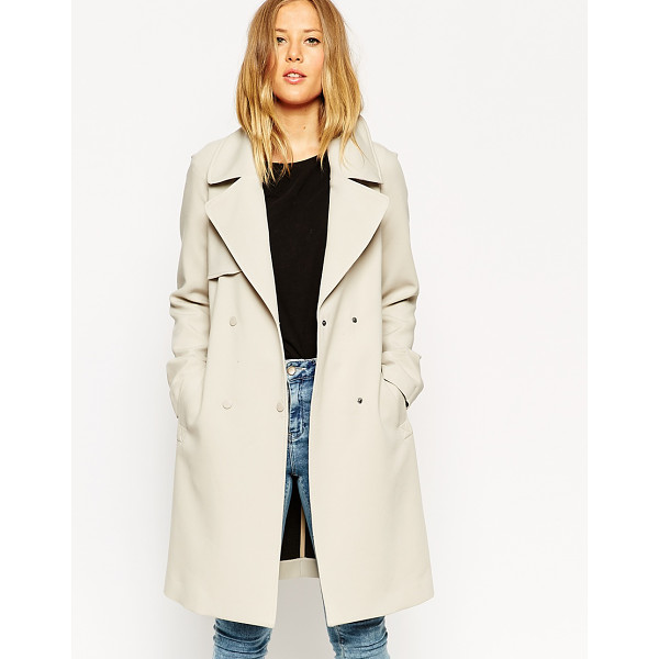 ASOS Trench in bonded cloth - Trench by ASOS Collection, Bonded structured fabric, Press...