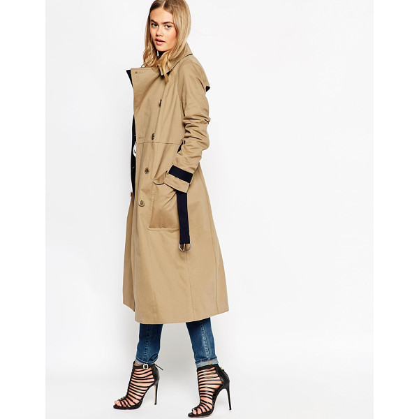 ASOS Trench in midi length with contrast detail - Trench by ASOS Collection Pure woven cotton Contrast color...