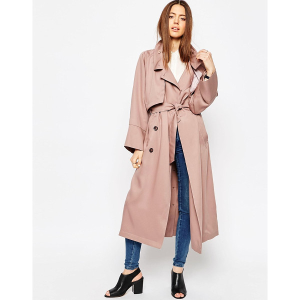 ASOS Trench in Waterfall Drape with Roll Back Sleeve - Trench by ASOS Collection, Soft-touch woven fabric, Unlined...