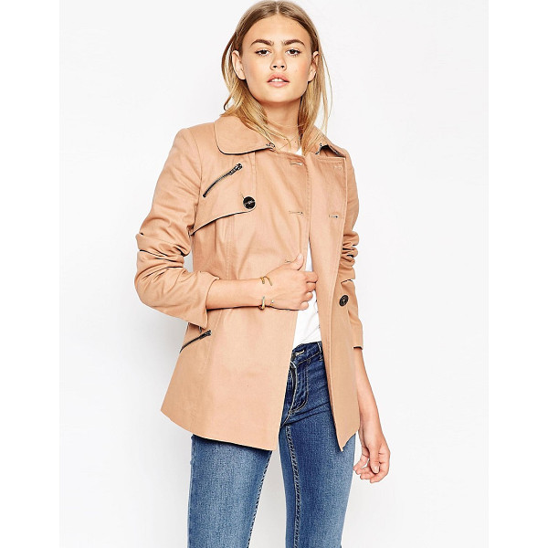 ASOS Trench Jacket - Jacket by ASOS Collection, Cotton-rich woven fabric, Point...