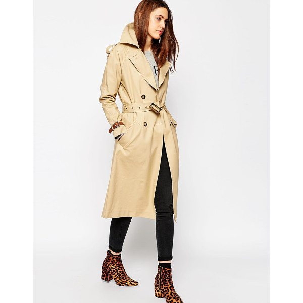 ASOS Trench with Contrast Cuff Detail - Trench by ASOS Collection, Smooth woven fabric, Unlined...