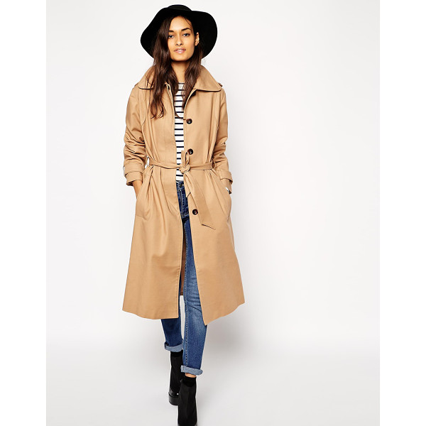 ASOS Trench in midi length - Trench by ASOS Collection, Heavyweight, smooth canvas,...