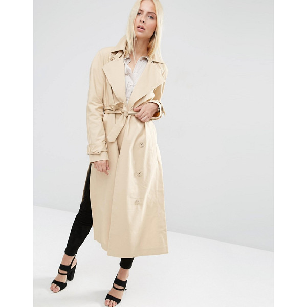 ASOS Trench with Raglan Sleeve in Midi Length - Trench by ASOS Collection, Lined woven cotton, Pin-buckle...