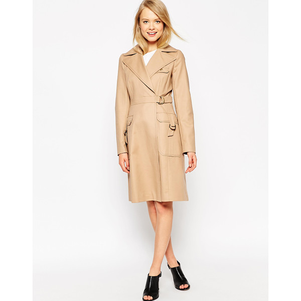 ASOS Trench with top stitch detail - Trench by ASOS Collection Mid-weight canvas Satin lining...