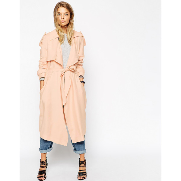 ASOS Trench with waterfall drape - Trench by ASOS Collection Mid-weight, soft-touch fabric...