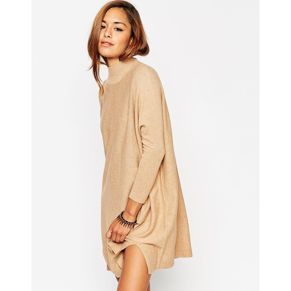 ASOS Tunic dress in knit with high neck in cashmere mix - Knit dress by ASOS Collection Soft-touch knit High neckline...