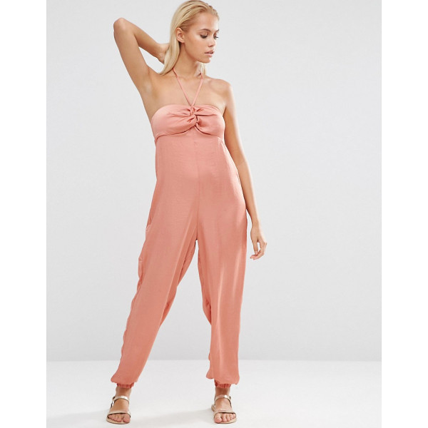 ASOS Twist Front Cuffed Beach Jumpsuit - Beach jumpsuit by ASOS Collection, Silky-feel fabric,...