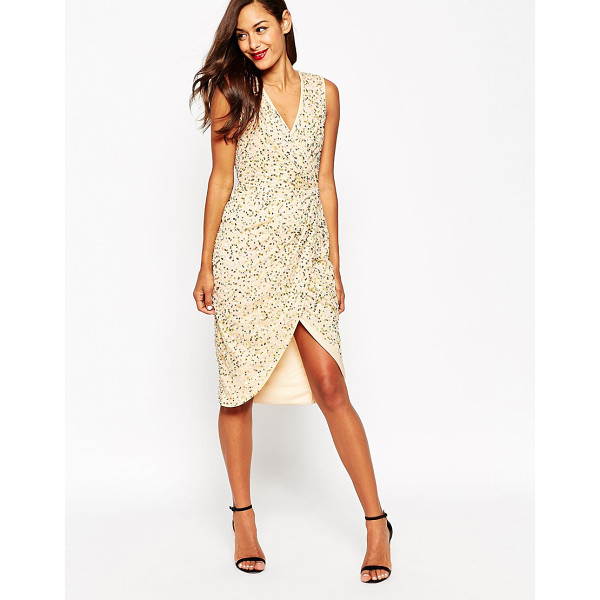 ASOS Twist Front Mesh Sequin Midi Dress - Dress by ASOS Collection, Sequin mesh fabric, Fully lined,...