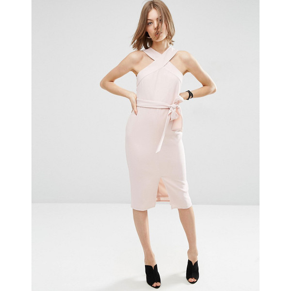 ASOS Twist Neck Pencil Dress With Tie Front - Dress by ASOS Collection, Lined crepe, Cross-over halter...
