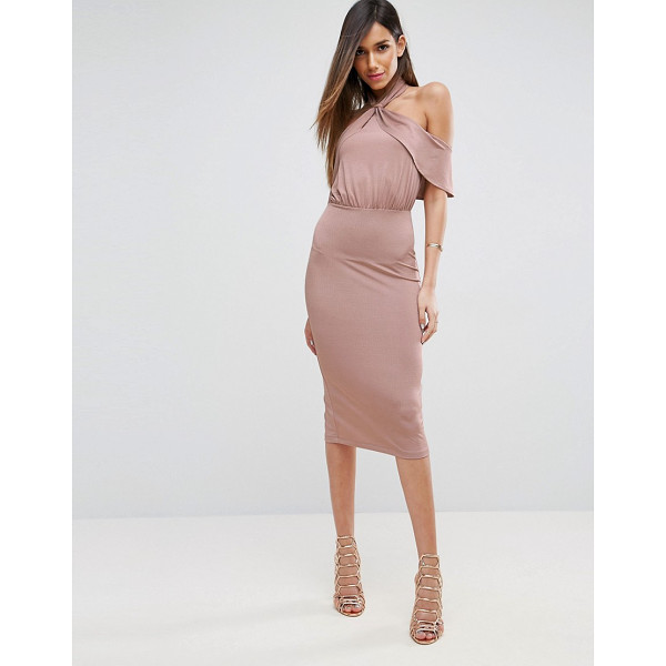 """ASOS Twist Neck Ruffle Top Soft Pencil Dress - """"""""Pencil dress by ASOS Collection, Smooth stretch fabric,..."""