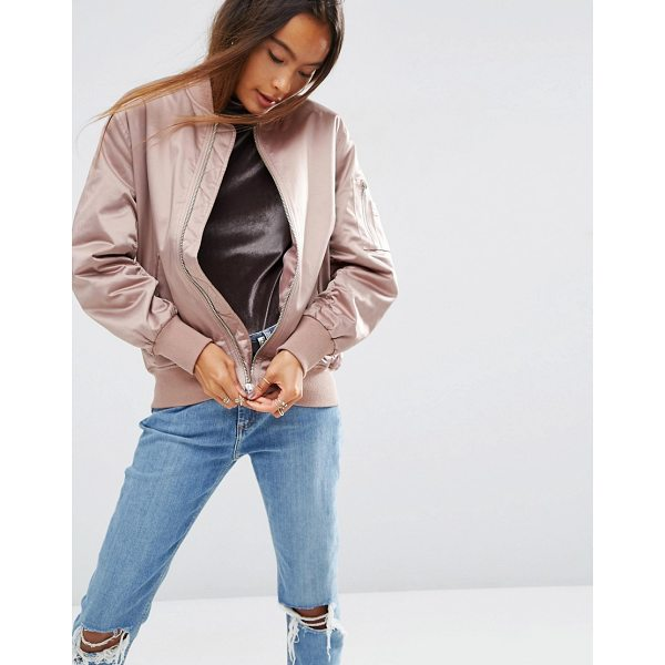 ASOS Ultimate Bomber Jacket - Bomber jacket by ASOS Collection, Satin-style fabric, Lined...