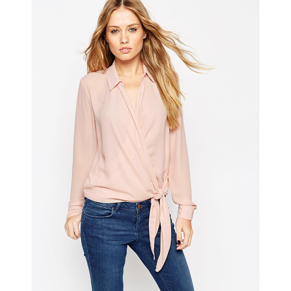 ASOS Ultimate wrap front blouse - Blouse by ASOS Collection Semi-sheer chiffon Point collar...