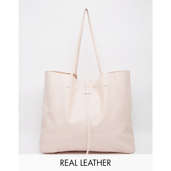 ASOS Unlined leather shopper bag with tie detail - Cart by ASOS Collection Smooth leather Twin shoulder straps...