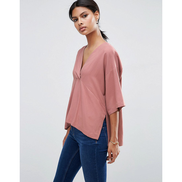 ASOS V Neck Kimono Top in Soft Twill - Top by ASOS Collection, Soft-touch twill, V-neckline,...