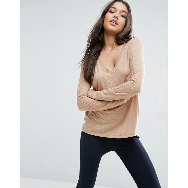 ASOS V-Neck Long Sleeve T-Shirt In Linen Mix Fabric - T-shirt by ASOS Collection, We partner with the Better...