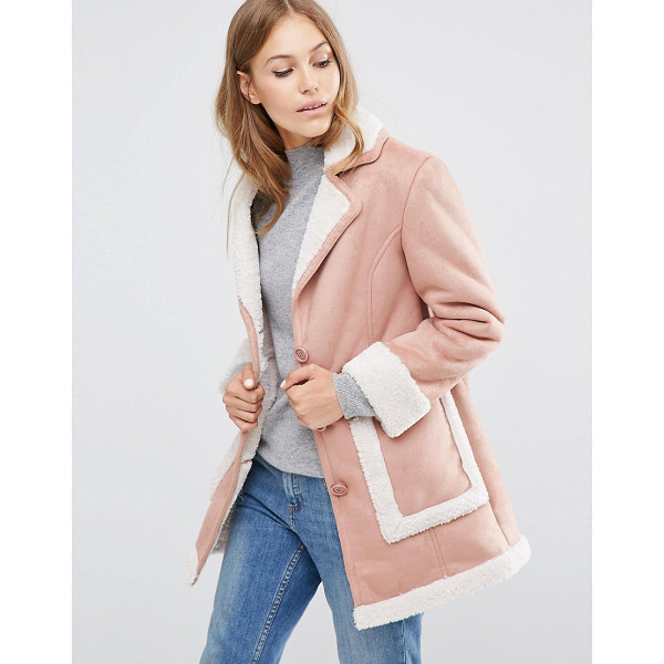 ASOS Vintage Style Faux Shearling Coat - Coat by ASOS Collection, Suede-look fabric, Faux-shearling...