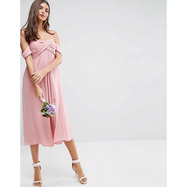 """ASOS WEDDING Bandeau Tie Front Midi Dress - """"""""Dress by ASOS Collection, Lightly-textured woven fabric,..."""