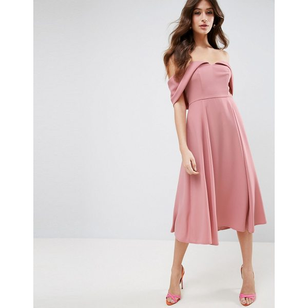 ASOS Bardot Fold Over Midi Prom Dress - Midi dress by ASOS Collection, Lightly-textured woven...