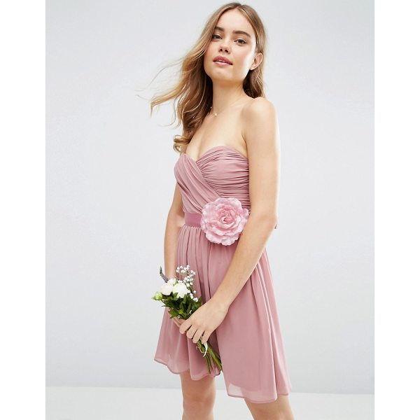 "ASOS DESIGN Bridesmaid chiffon bandeau mini dress with detachable corsage - """"Dress by ASOS Collection, Lined chiffon fabric,..."