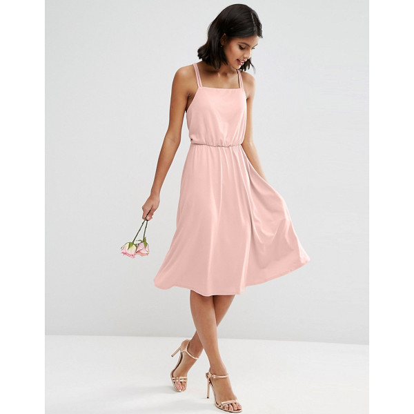"""ASOS WEDDING Crepe Cross Back Midi Dress - """"""""Dress by ASOS Collection, Stretch crepe, Square-cut..."""