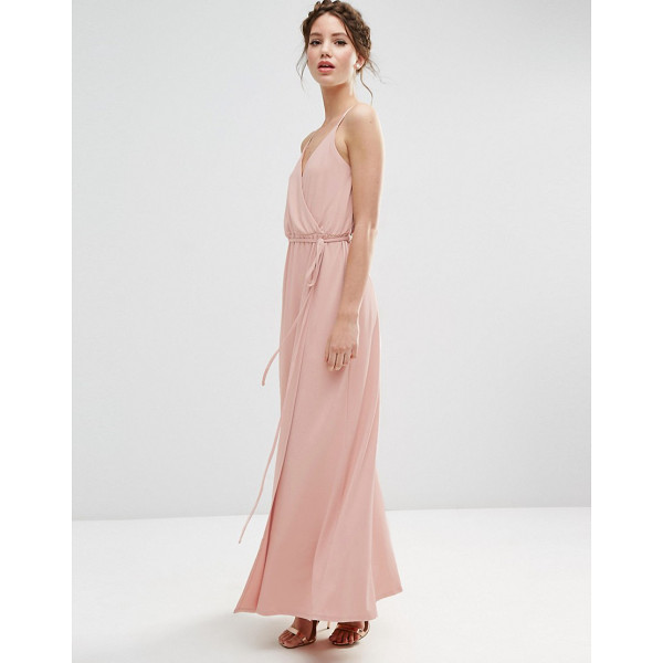 """ASOS WEDDING Crepe Strappy Wrap Maxi Dress - """"""""Maxi dress by ASOS Collection, Stretch crepe, Lined top,..."""